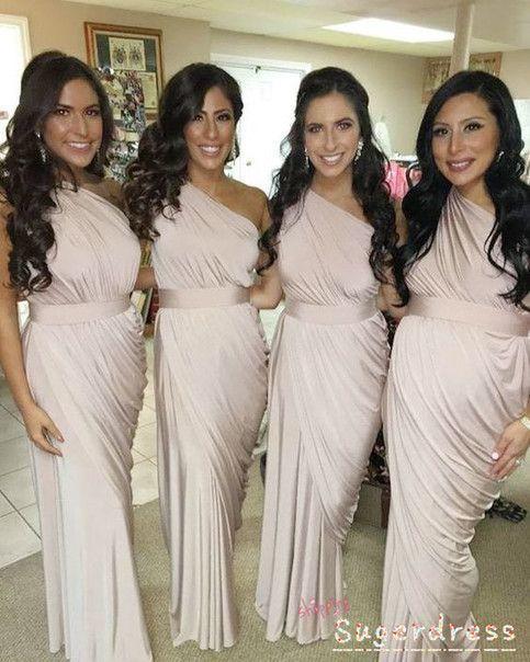 one shoulder pleated bridesmaid dresses long champagne elegant cheap wedding