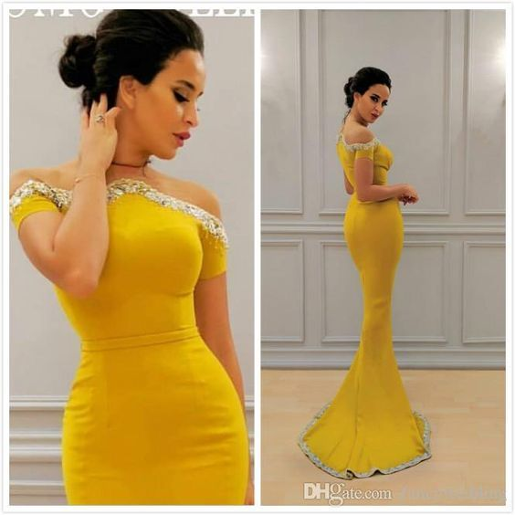 modest evening dresses 2021 mermaid elegant beaded simple arabic yellow evening
