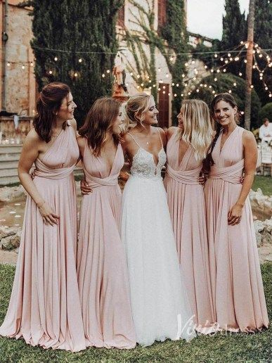 convertible pink bridesmaid dresses 2020 infinite cheap long simple wedding