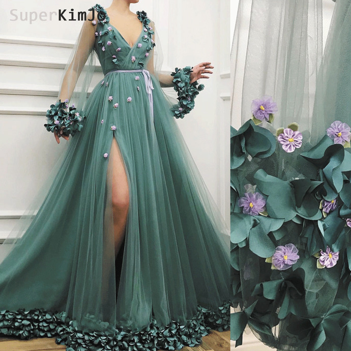 green handmade flowers prom dresses flare sleeve elegant v neck cheap prom gowns