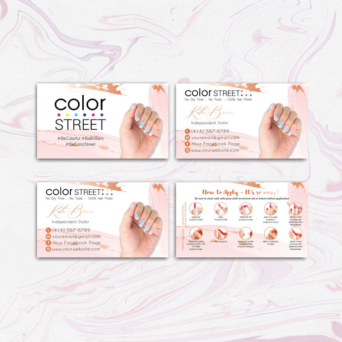 PINK GLITTER COLOR STREET BUSINESS CARDS, PERSONALIZED COLOR STREET APPLICATION