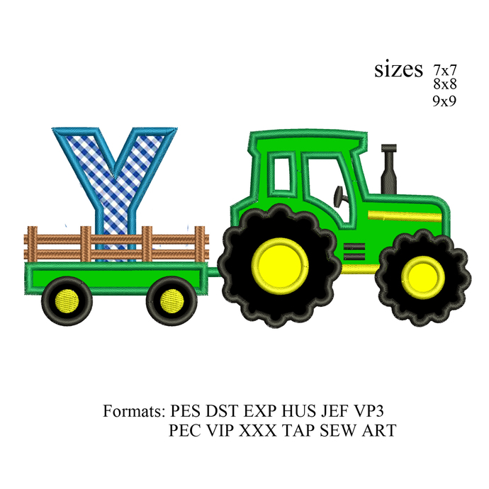 tractor pulling Y embroidery design,tractor applique embroidery machine,birthday