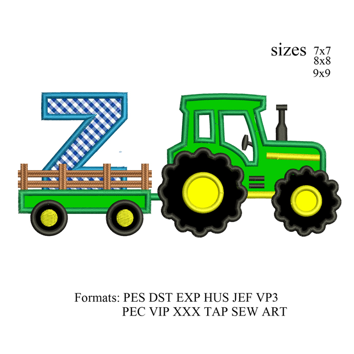 tractor pulling Zembroidery design,tractor applique embroidery machine,birthday