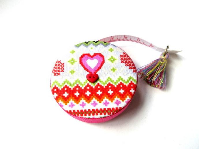Tape Measure Fair Isle Knitting Stitches Small Retractable Measuring Tape