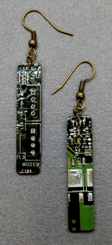 Circuit Board Earrings, Green, w/ Antique Brass colored findings