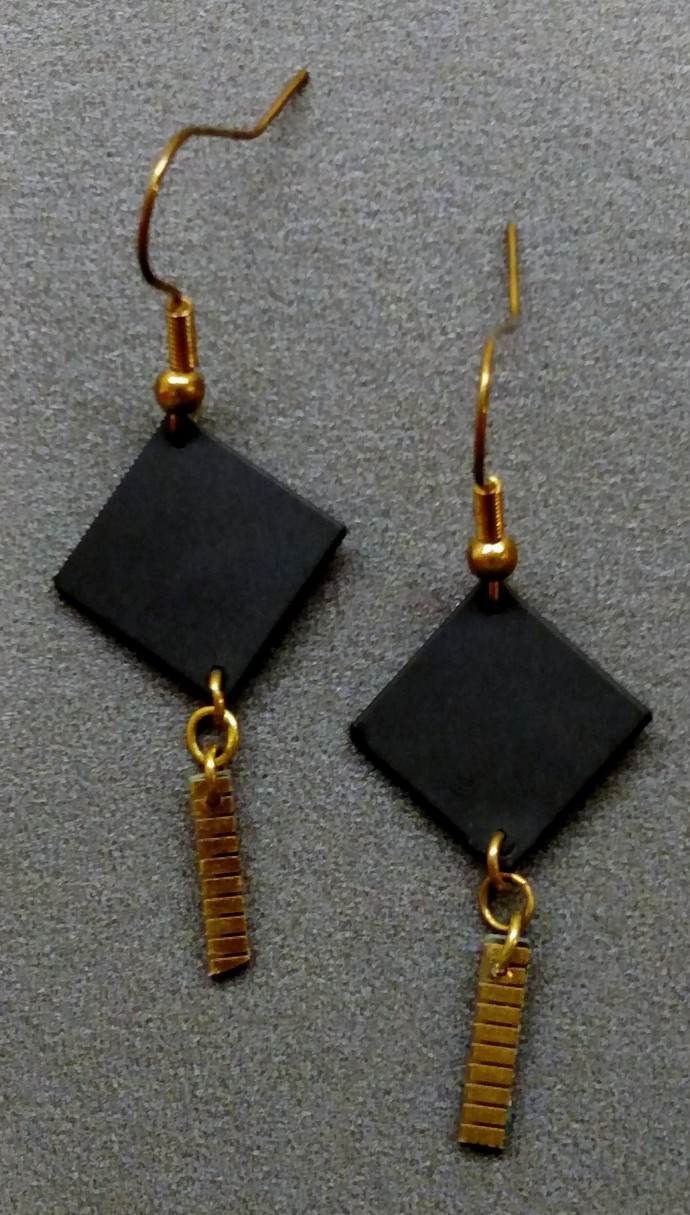 Black Computer Chip w/ Gold Contact Strip Earrings