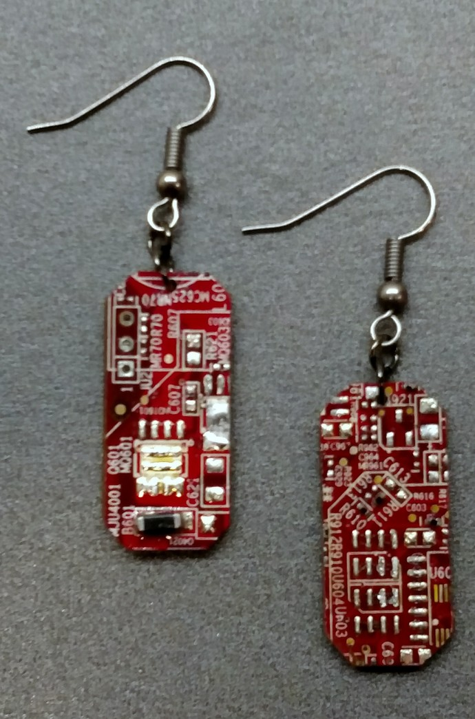 Circuit Board Earrings, Red w/ silver colored findings