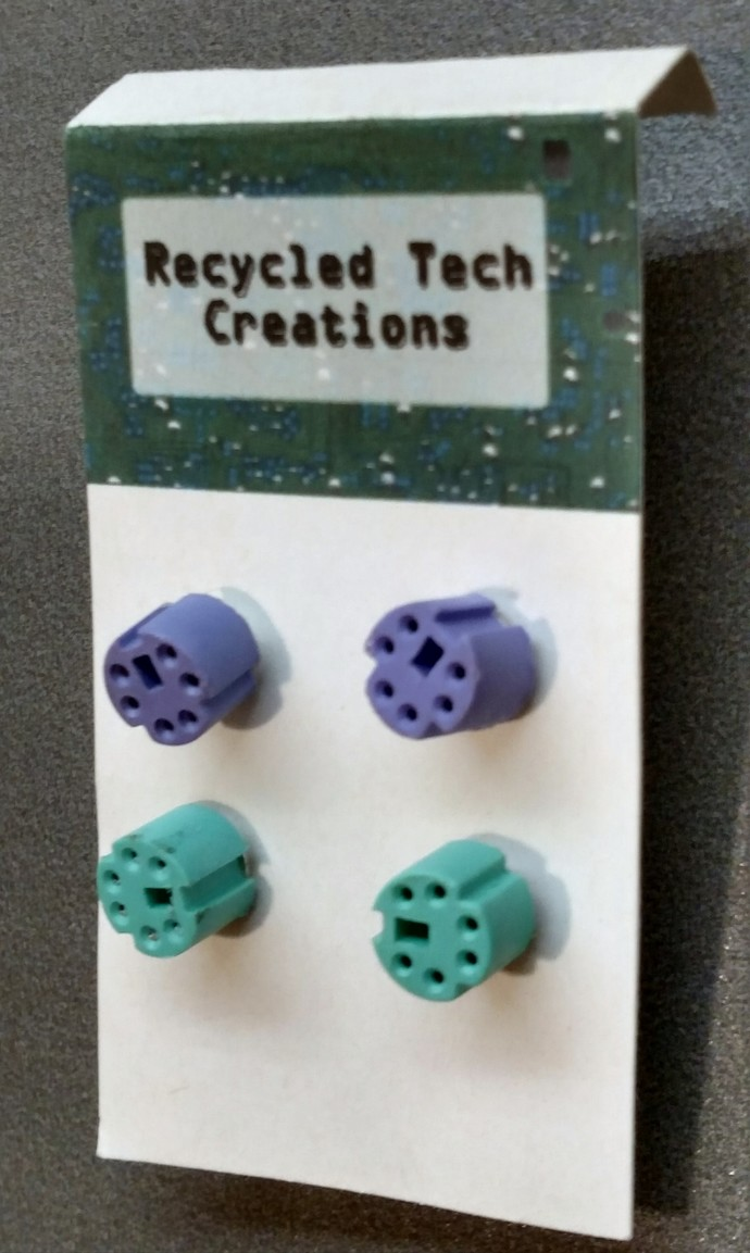 Keyboard/Mouse Plug Earrings w/ silver-colored posts