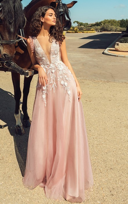 Tulle Prom Dress,A-Line Prom Gown,Appliques Evening Dress,Custom Prom Gown 0211