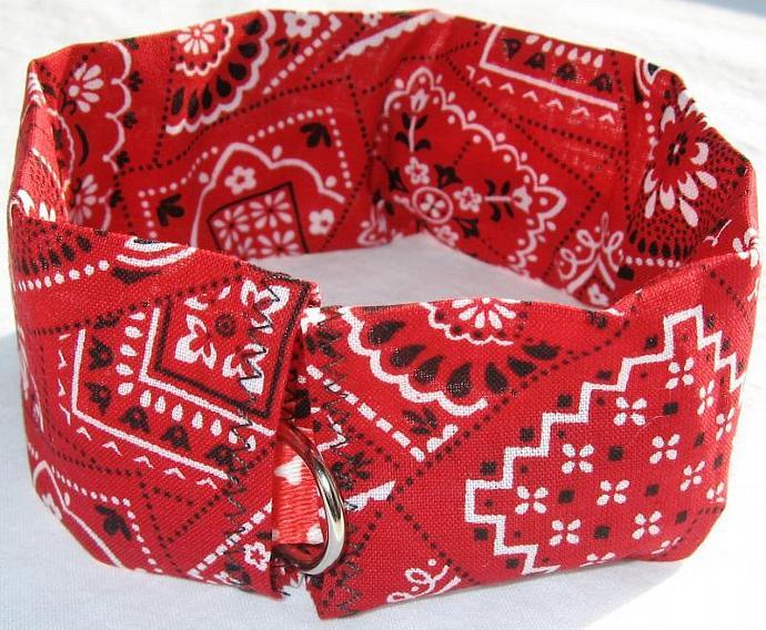 Red Bandana Print Dog Collar Slipcover, a bandana alternative