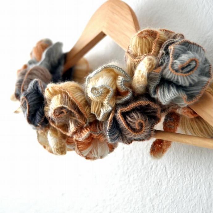 Turkish rose handmade knit crochet neckwarmer earthy brown scale