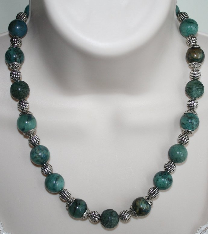Teal Blue Jade with Tibetan Silver Statement Necklace, Carved Jade Beaded
