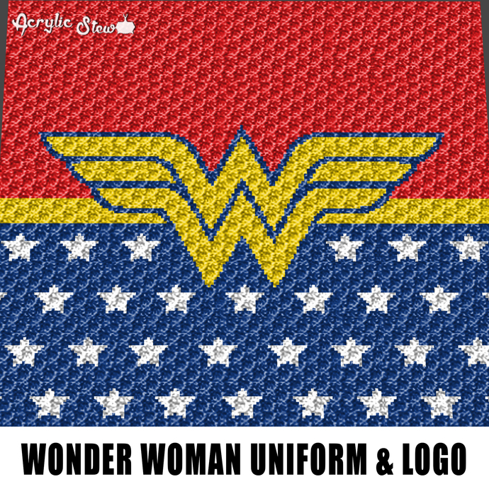 Wonder Woman Uniform Logo DC Comics crochet graphgan blanket pattern; graphgan