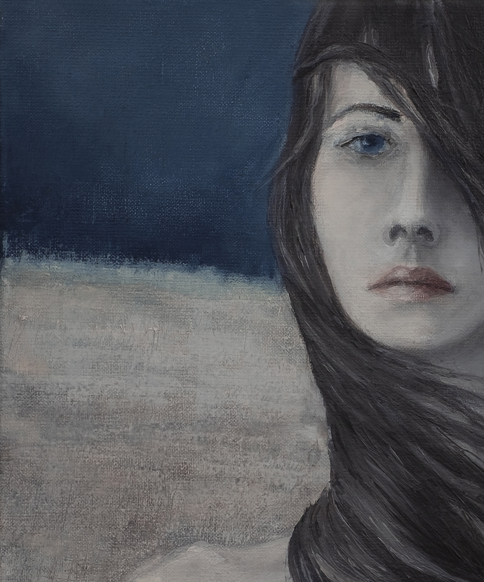 Portrait painting wind in hair, Blue and brown portrait, dreamy digital image,