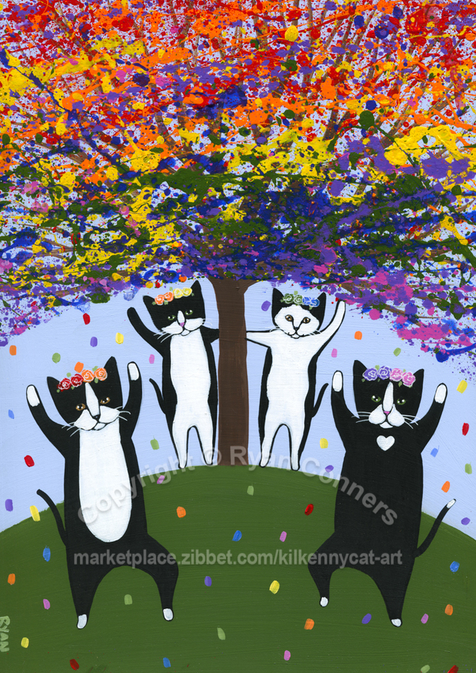 The Celebration of Summer Original Dancing Cats Folk Art Painting