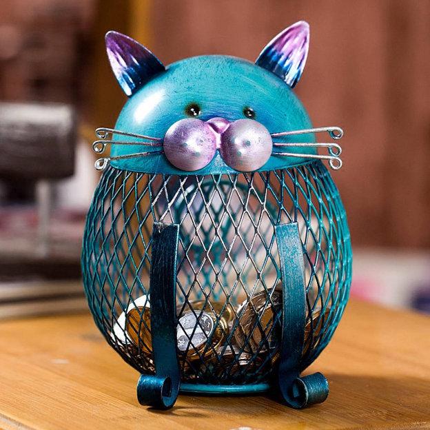 Blue Cat Iron Coin bank-Piggy Money Box Bank-Animal Creative Ornament Iron Art