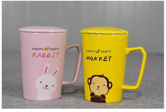 Lovely Ceramic Mug Cat Rabbit  Monkey Porcelain Cup Mug with Lid Spoon -Cartoon