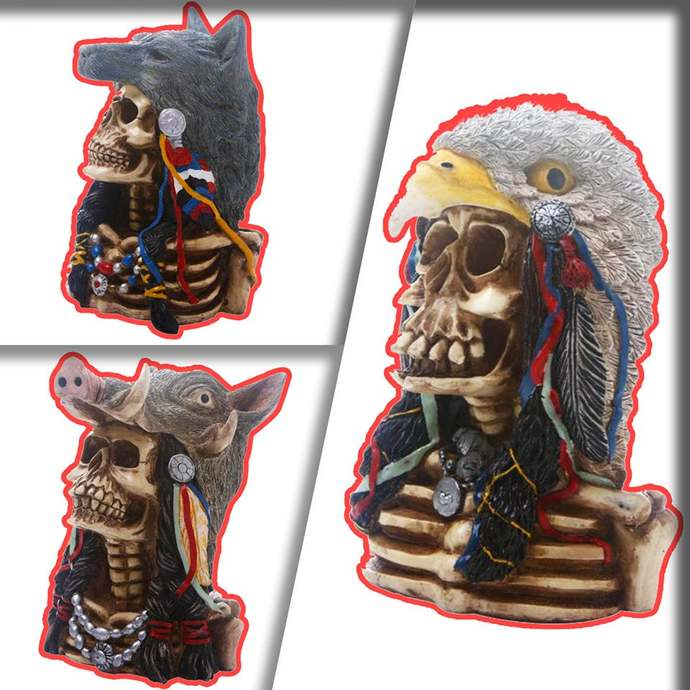 Creative Indian Tribe Wolf/Eagle/Pig Skull Statue - Craft Statues for Home