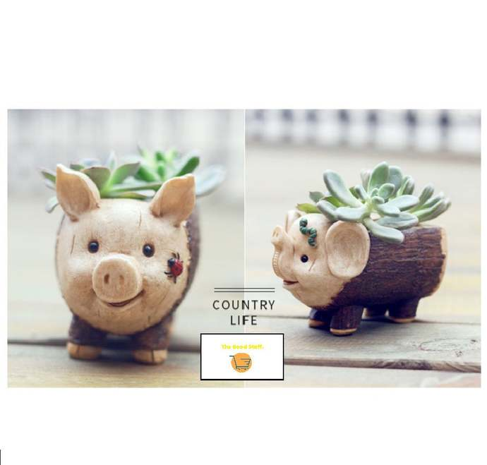 Cute  Piggy/Elephant Stump Flower Planter- Sebum Succulent Pot Planter -Bonsai