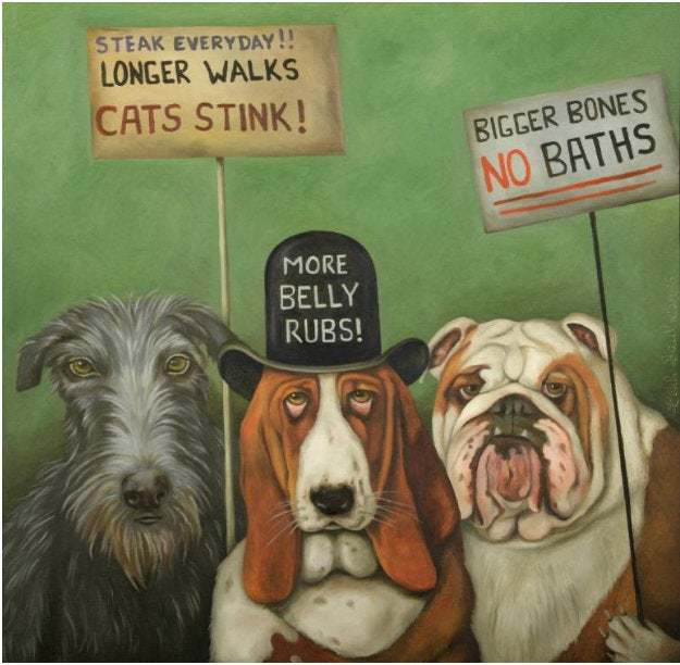 Portrait Canvas  Dogs On Strike Pets Wall Art-Oil Painting Home Decor Printed