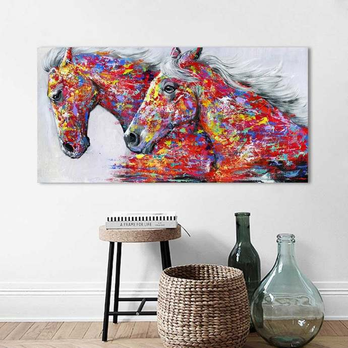 Portrait Canvas Art Wall Pictures For Living Room- Two Horses Ruining Painting-