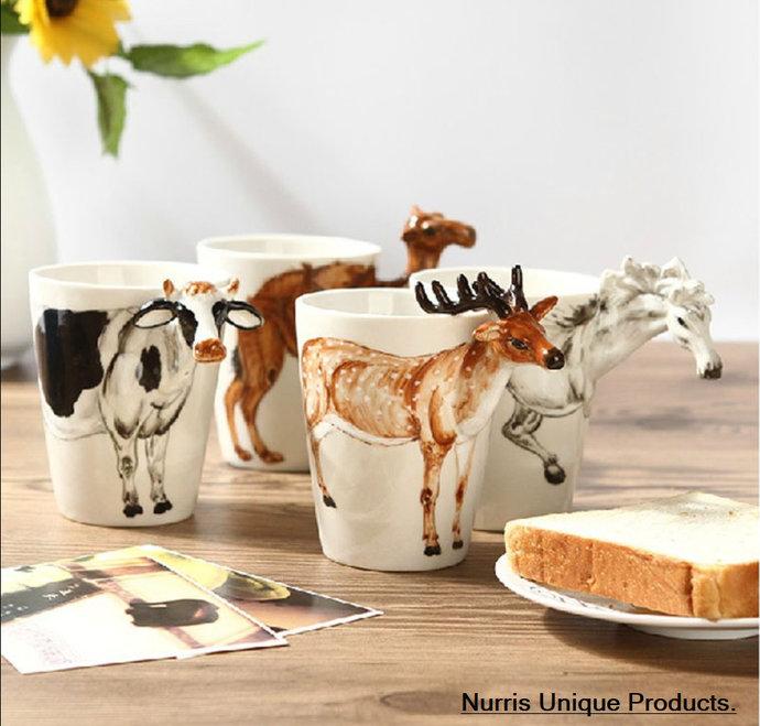 3D Animal Handmade Reindeer Coffee Mug - Ceramic Mug Handmade - Hand Painted Mug