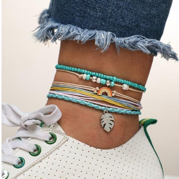 Bohemian Handmade Anklets for Women - Sky Blue Rope Chain Braided Anklets