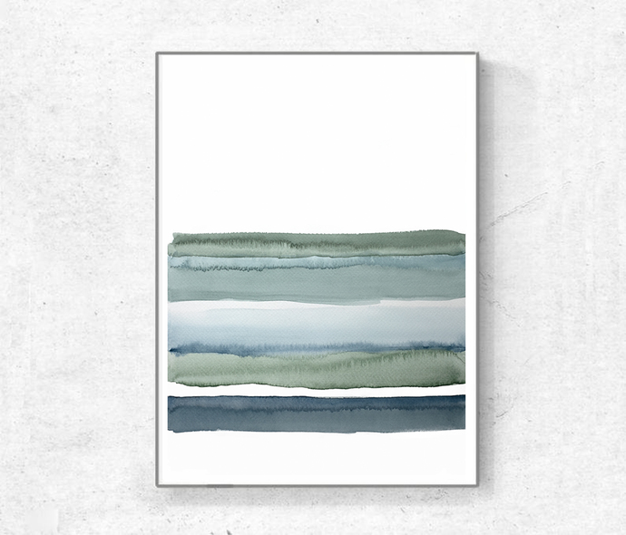 Abstract Art Print Watercolor, Printable Art, landscape green blue lines,