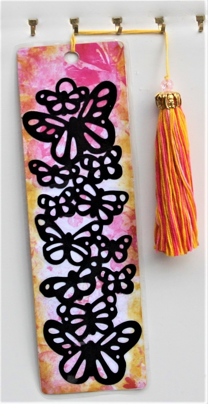 Bookmark - Butterflies on a Painted Background