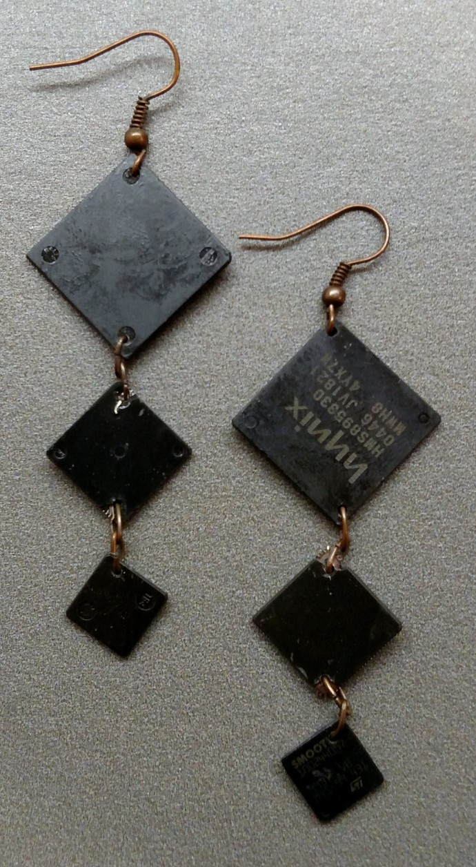 Computer Chip Earrings w/ antique copper findings
