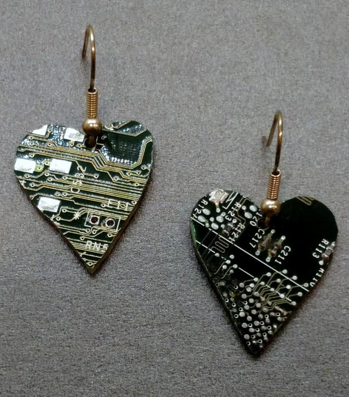 Circuit Board Heart Earrings, green, w/ silver plated findings