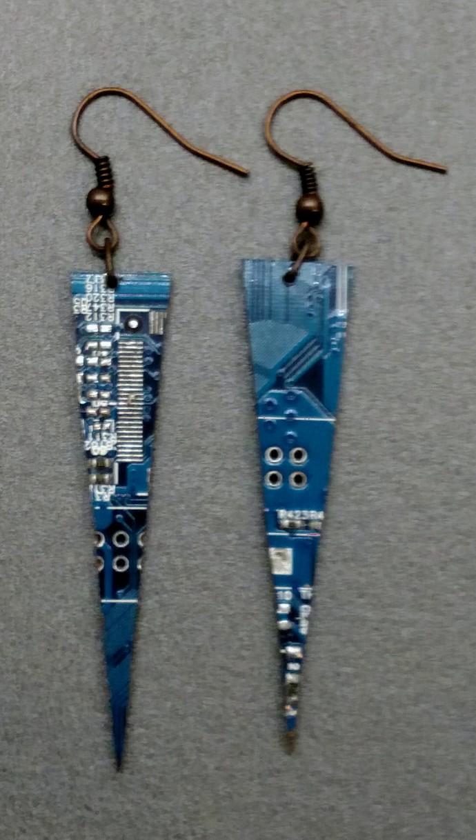 Circuit Board Dagger Earrings, blue, w/ copper colored findings