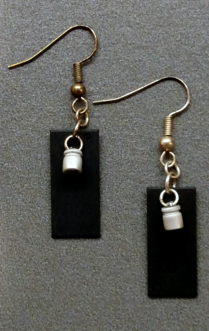 Computer Chip Earrings w/ Silver Resistor Bangle