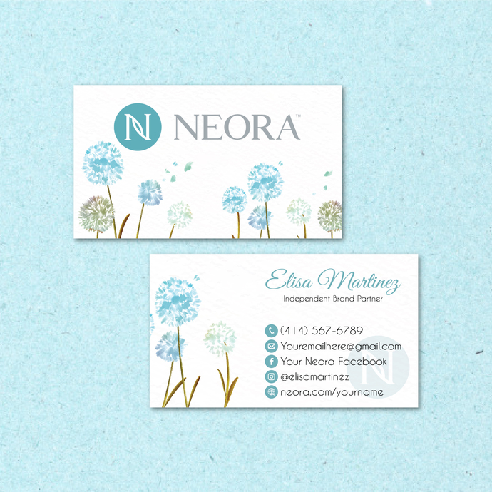 Neora Business Card, Personalized Neora Business Cards, Floral Neora Card,