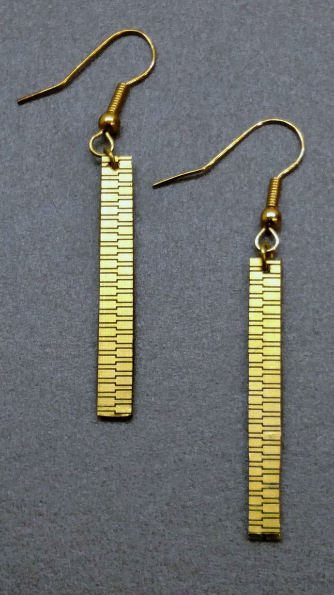 Gold Contact Strip Dangle Earrings