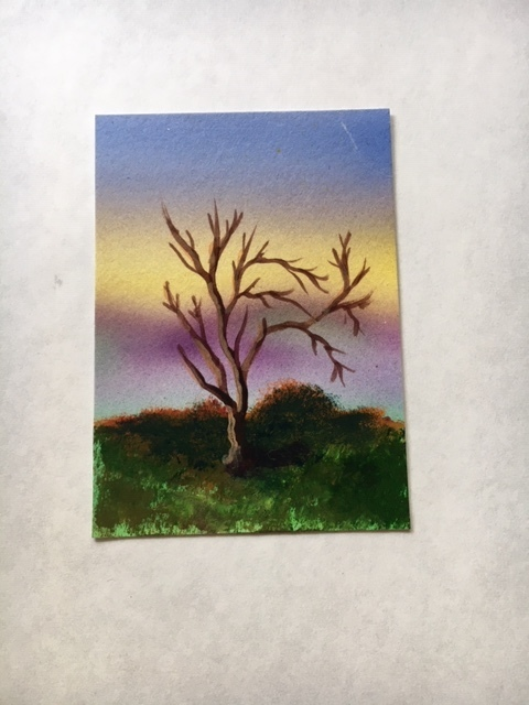 Tree ACEO original acrylic painting by Dawn Blair