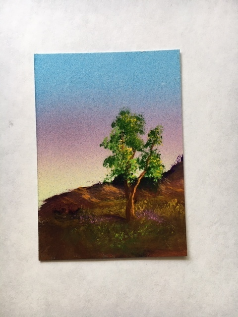 Tree ACEO original airbrush and hand-painted miniature by Dawn Blair