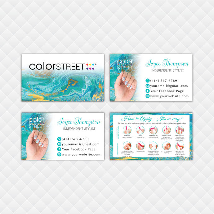 Personalized Color Street Application Cards, Watercolor Color Street Business