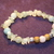 Morganite Crystal Cluster Stretch Bracelet with Wood and Silver Bead Accents
