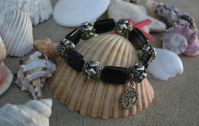 Obsidian Tree of Life Stretch Bracelet