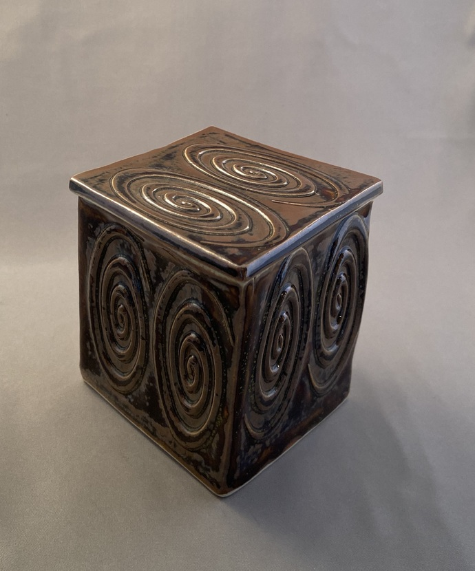 """Box with spirals in browns - 3"""" X 3 1/4"""" X 3 7/8"""""""