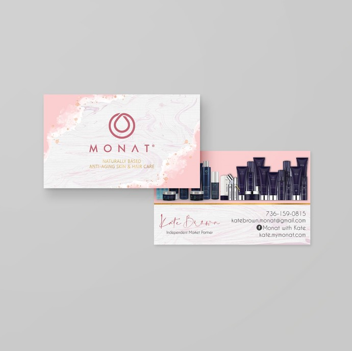 Pink Watercolor Monat Business Cards, Personalized Monat Hair Care Cards, Marble