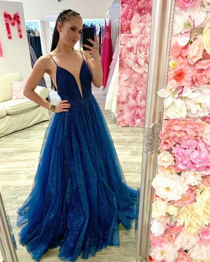 Spaghetti Straps A-Line Prom Dresses,Long Prom Dresses,Cheap Prom Dresses,