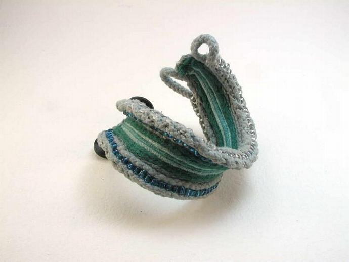 blue green two button beaded hand dyed cotton cuff bracelet primitive form