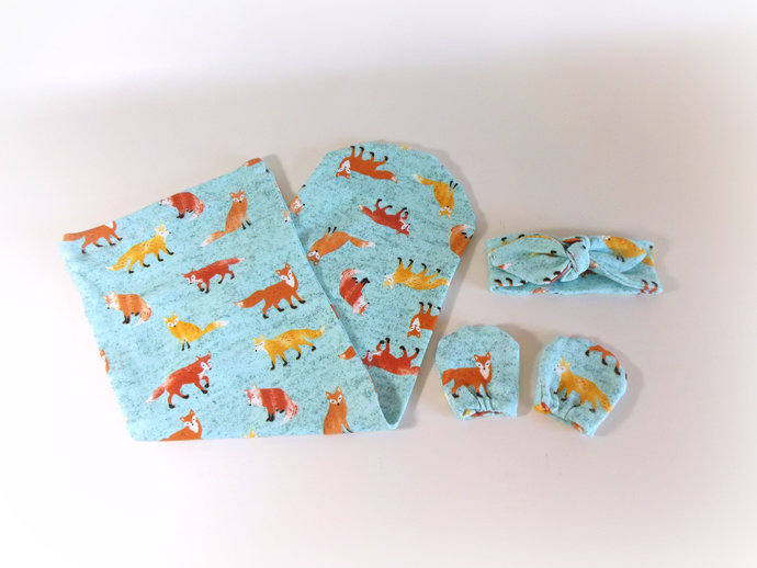 Fox Swaddle Sack,Fox Sleep Sack, Fox Cocoon,Fox Tie Knot Baby Headband, Fox Baby