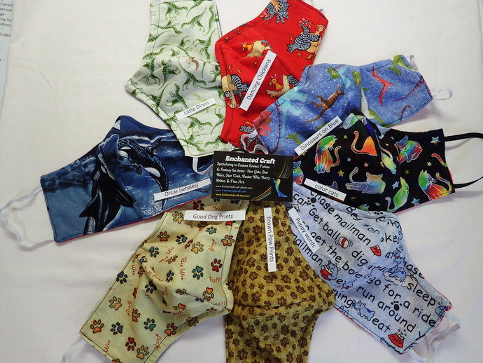 animal handmade washable face mask 100% cotton & flannel choose Cat dog orca