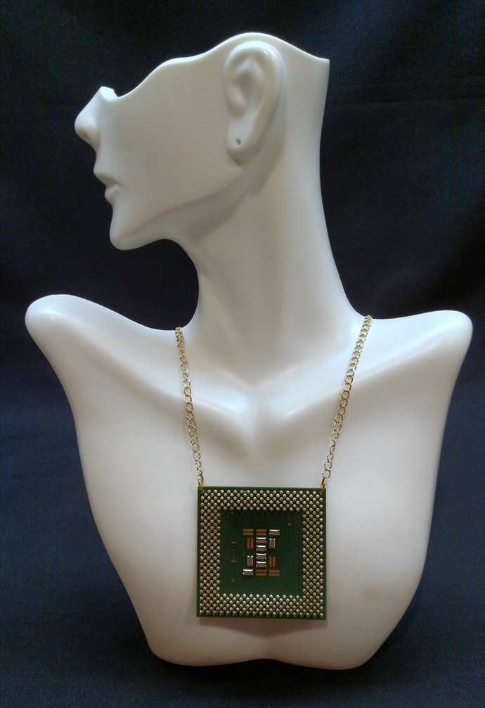 Computer Chip Necklace, gold & green