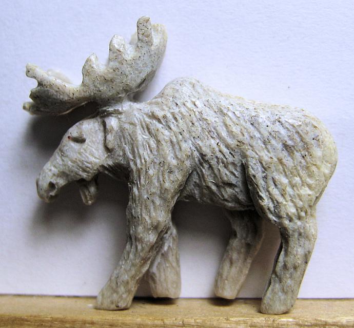 Richard Carpenter Hand Carved Antler Moose Button