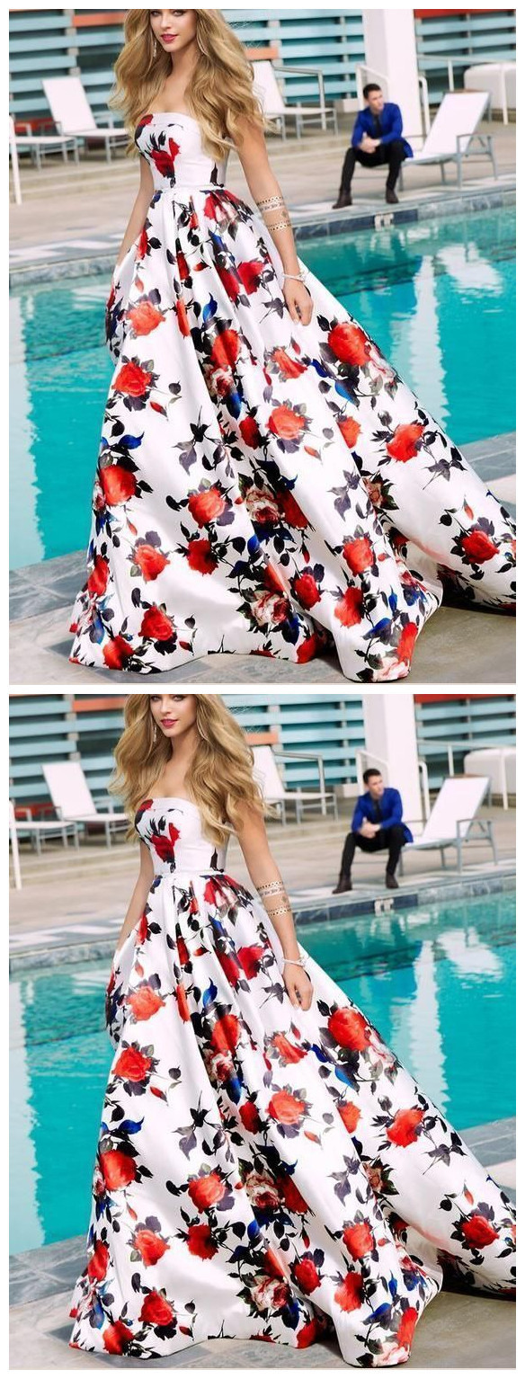 Floral Print Prom Dresses Strapless Aline Sweep Train Long White Prom Dress