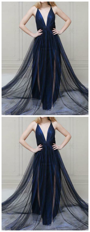 Navy Blue Long Prom Dresses Deep V Neck Evening Dresses For Women